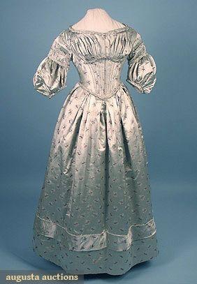 Augusta Auctions, April 2006 Vintage Clothing & Textile Auction, Lot 775: Silk Brocade Evening Dress, C. 1838