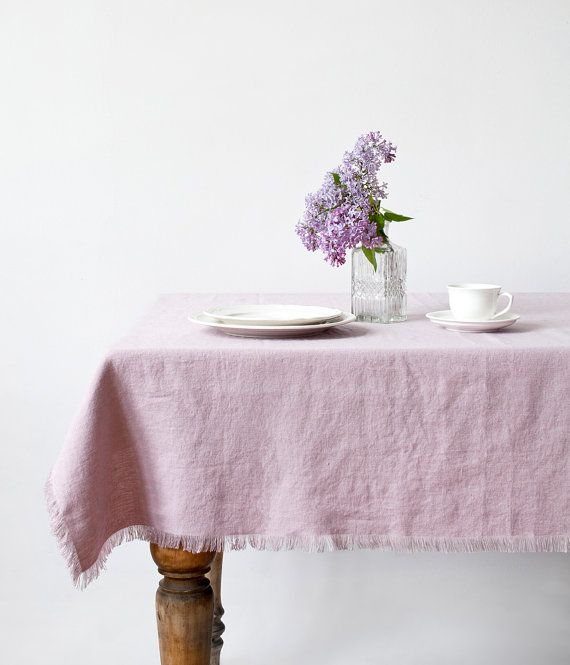 Pink Lavender Stone Washed Linen Tablecloth by LinenTales on Etsy
