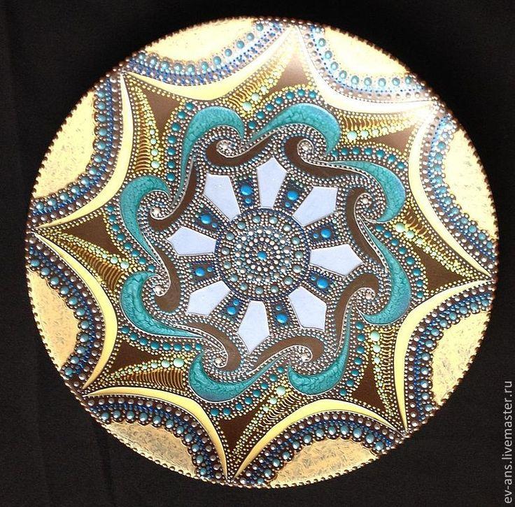 Купить Тарелка декоративная Sunny breeze - коричневый, бронза, бирюза, Тарелка декоративная, Настенная тарелка