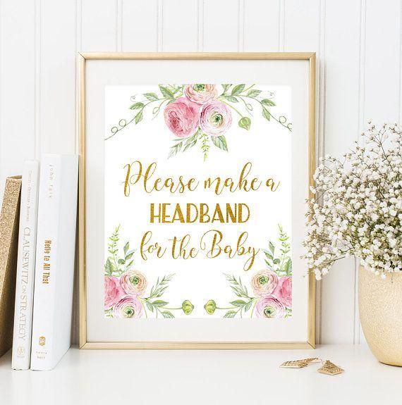 Headband Station Sign Printable Floral Baby by FloralArtFantasy
