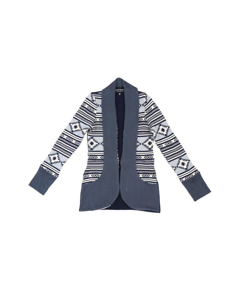 Grey and navy upcycled cardigan sweater with shawl collar and pockets in bamboo cotton contrast.