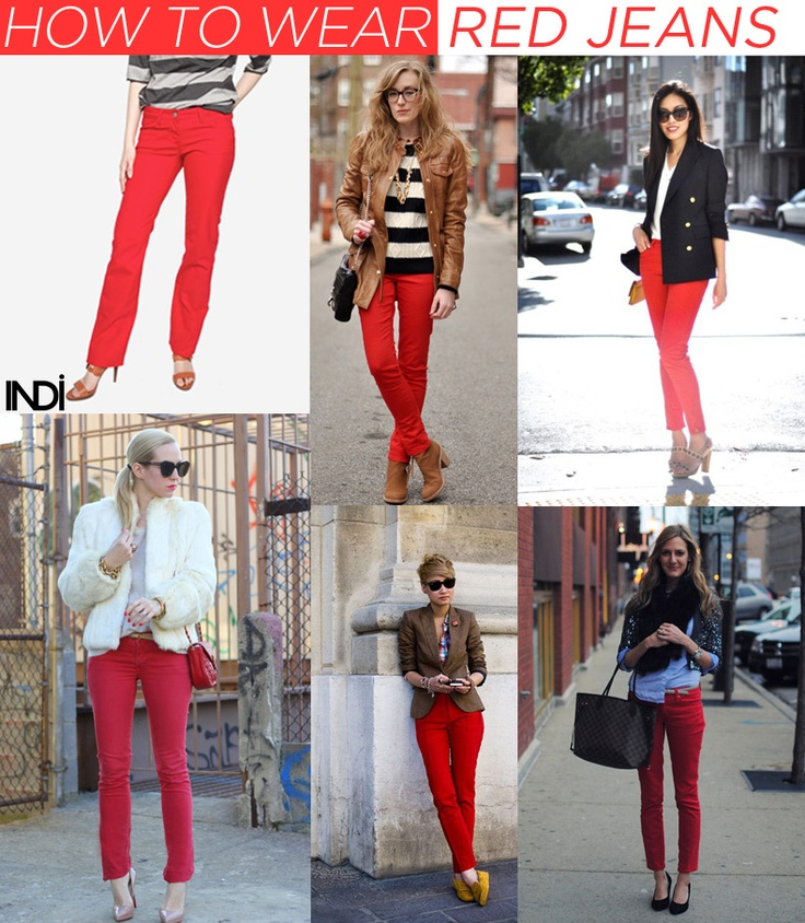 How to wear blue, green, pink, yellow, and red denim.