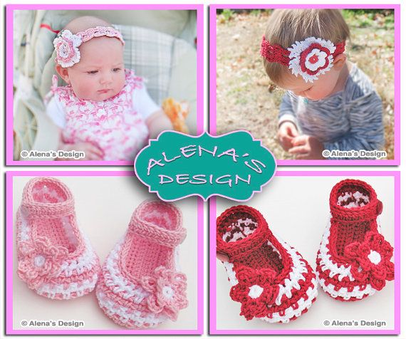 Crochet Pattern Set  Crochet Baby Shoes Pattern  by AlenasDesign