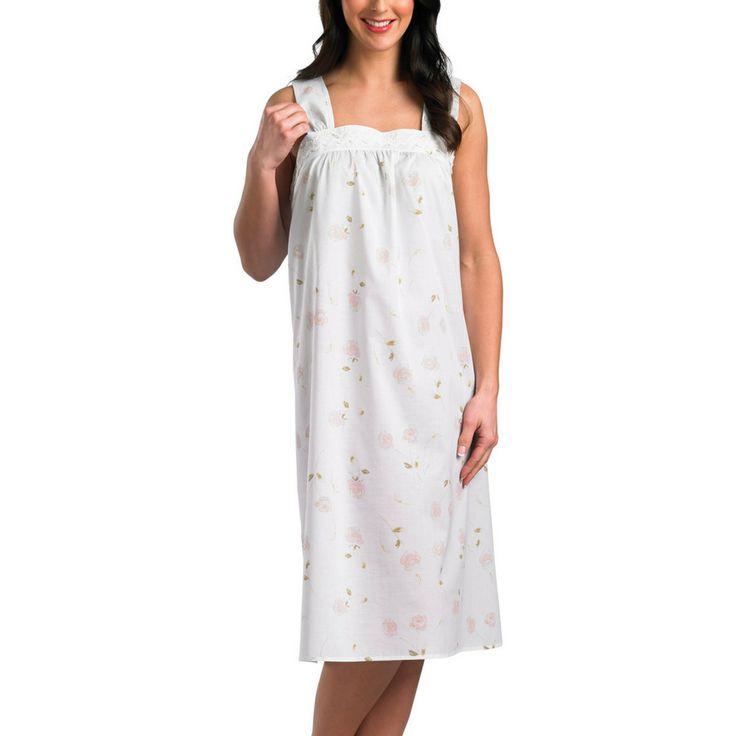 Slenderella 100% Cotton Rose Print Sleeveless Nightdress Mint or Pink 10 to 22