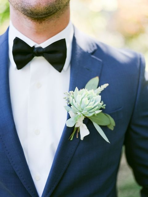 Blue Suit with a Black Bow Tie and Succulent Boutonniere