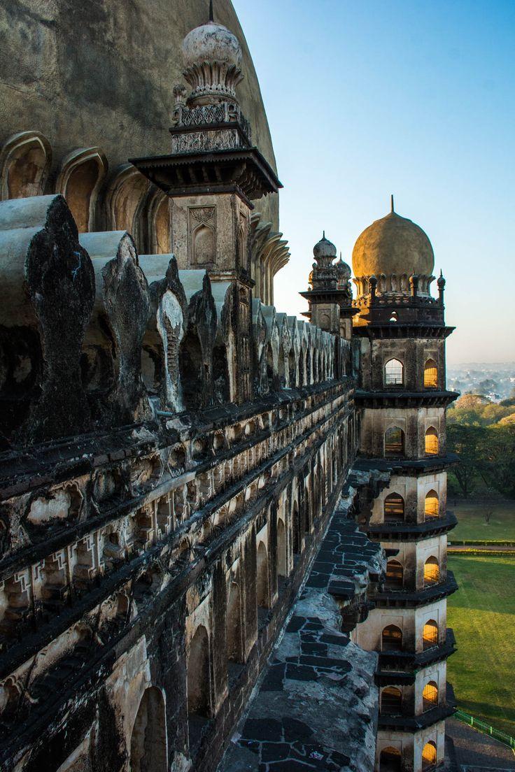 Sunrise over the Gol Gumbaz mausoleum in Bijapur, Karnataka, India.