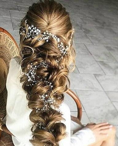 Crystal and Pearl hair vine, Babys breath hair pie…Edit description