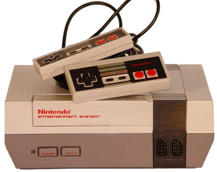 Nintendo NES console with controllers.
