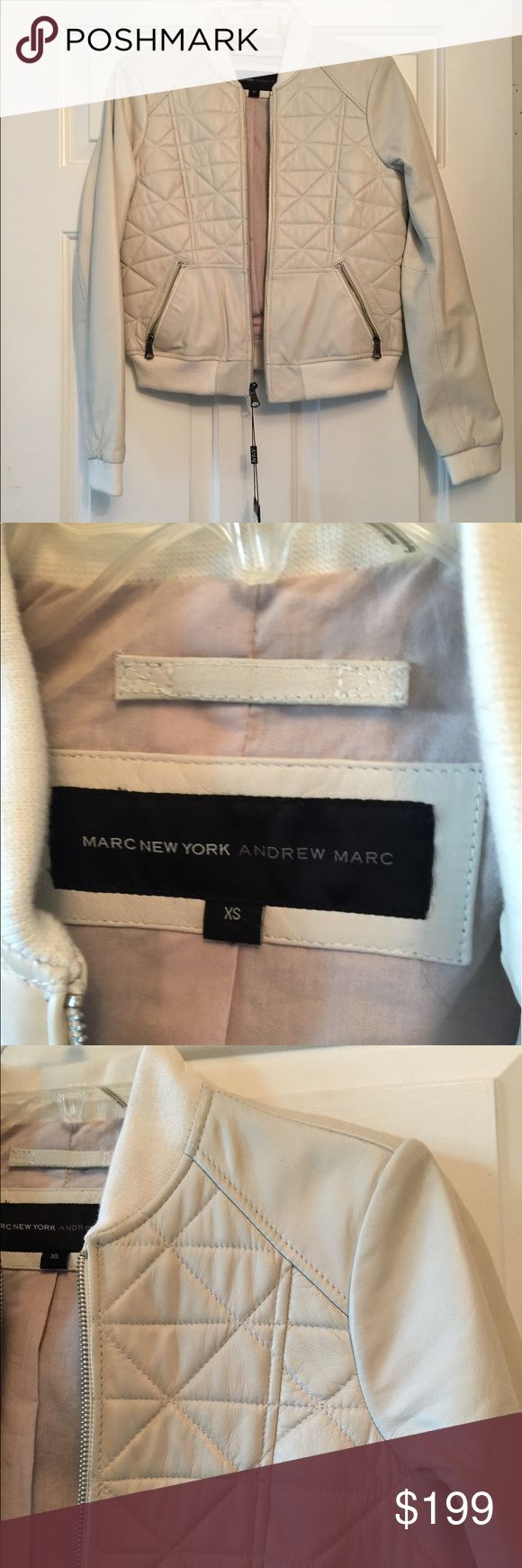 NWT Leather Bomber Jacket Fully lined.  Very high quality jacket.  Please see price tag. mark new york andrew mark Jackets & Coats