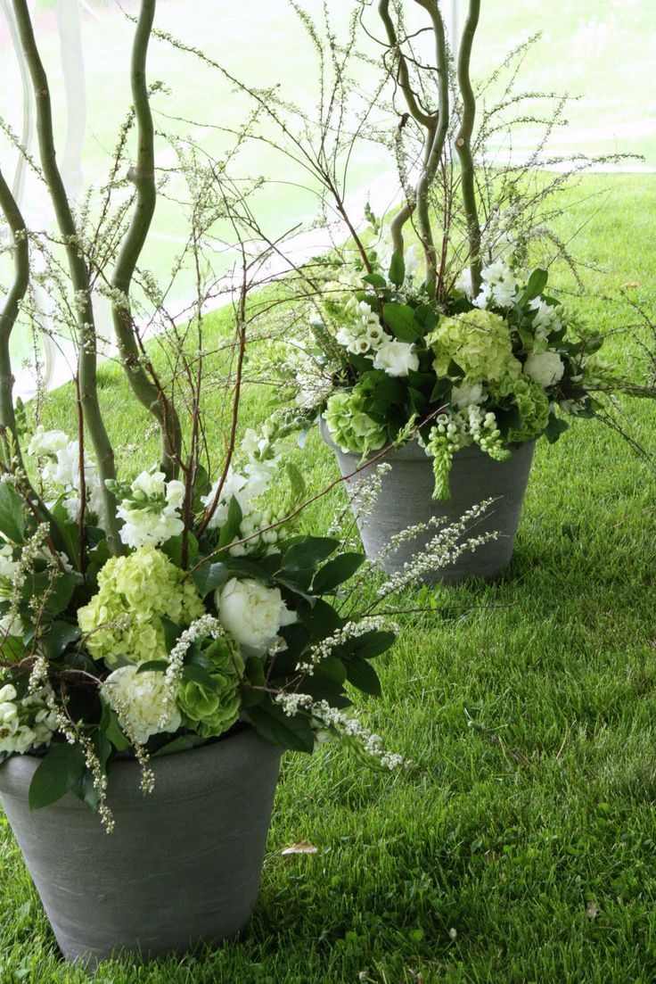 Style Only Flowers Low In Container With Curly Willow Ceremony I Really Like Container Flowers Flower Arrangements Floral Arrangements