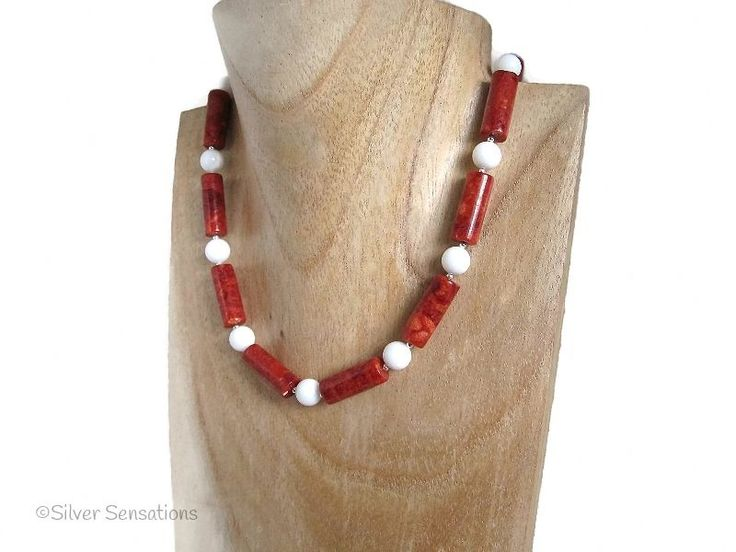 Red Sponge Coral Tubes & Snow White Agate Sterling Silver Chunky Necklace from Silver Sensations. This uniquely designed handmade necklace is striking in red & white - £21.00 + P & P