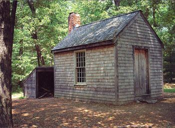 """Thoreau's cabin at Walden Pond near Concord, Massachusetts. ¶ """"Success usually comes to those who are too busy to be looking for it."""" — Henry David Thoreau, American essayist, poet and philosopher (1817-1862)"""