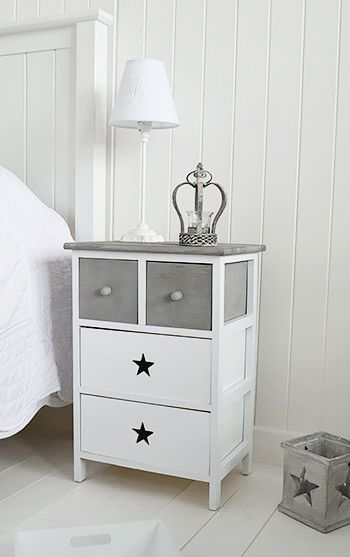 Grey and white bedside table with stars. Grey bedroom furniture from The White Lighthouse. Fast UK delivery