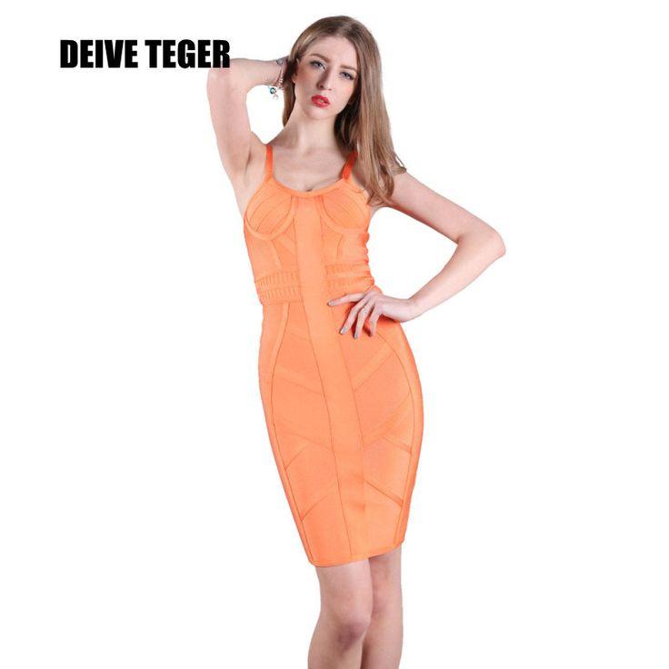 New Coral Bustier Dress Women Bandage Pencil Lady Club Orange Dress