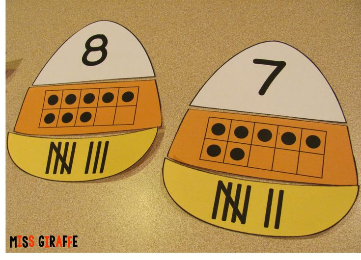 Candy corn number puzzles - click for other fun Halloween math ideas for kindergarten and first grade on this blog post!