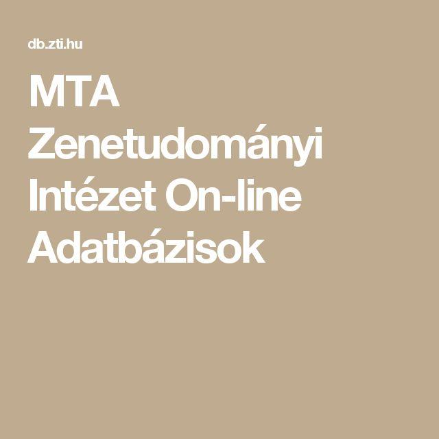 MTA Zenetudományi Intézet On-line Adatbázisok
