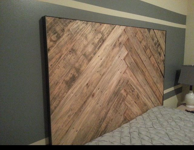 Queen wood pallet headboard  herringbone