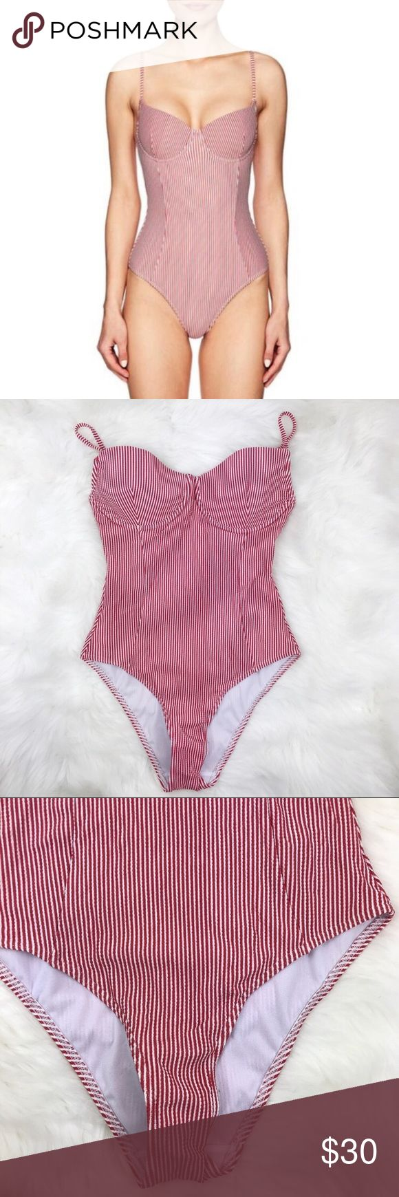 SOLE EAST Red Striped One Piece SWIMSUIT Super cute, fun suit with underwire for…