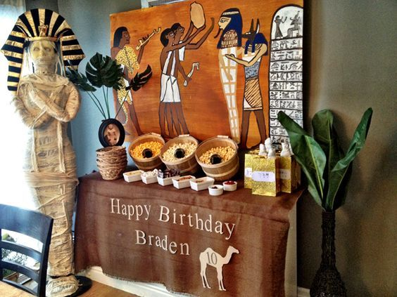 Egyptian Party , love this party. from decorations, popcorn bar, goodie bag and cake