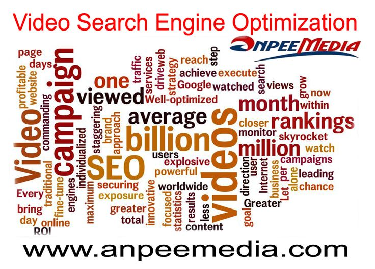 Video Search Engine Optimization  http://www.anpeemedia.com/services/marketing/video/