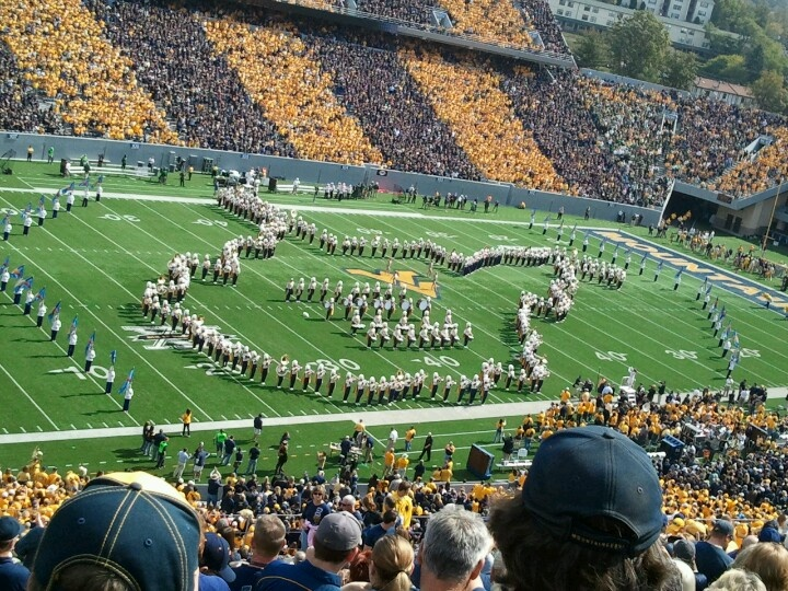 State outline during Pregame at WVU football game.