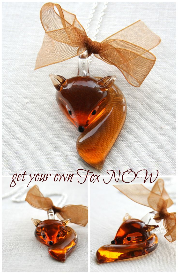 Fox Necklace, Sterling Silver Chain, Burnt Orange Copper Metallic Ribbon Bow, Lampwork Pendant, Woodland Necklace