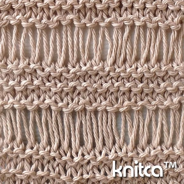 Right side of knitting stitch pattern – Drop Stitch 1 : www.knitca.com
