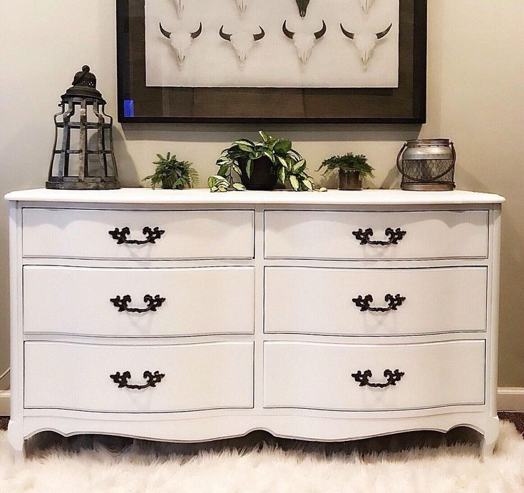 Beautiful White Vintage Rustic /French/Cottage /Shabby Chic French Provincial  Bedroom Dresser /Buffet/ Baby Changing Table