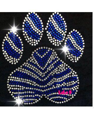 Blue zebra paw- rhinestone  Transfer Bling Hot Fix  -  DIY hotfix motif design mascot team blue silver iron on on Etsy, $7.99