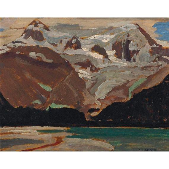 A.Y. Jackson - Maligne Lake Rockies 8.11 x 10.35 Oil on panel