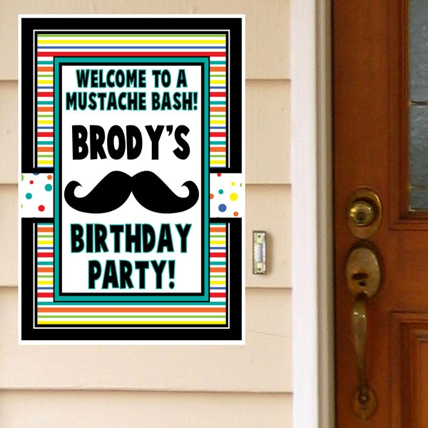 Moustache Party Personalized Door Greeter