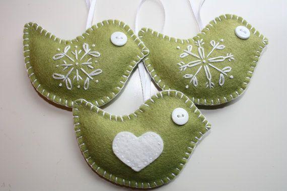 Moss Green Felt Bird Ornaments  Set of 3 by GeorgeNRuby on Etsy, $22.00