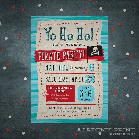 Pirate Birthday Invitation, Printable Treasure Map Invite, Pirate Party, Gender Neutral Birthday, Treasure Hunt, Yo Ho Ho, Pirate Flag
