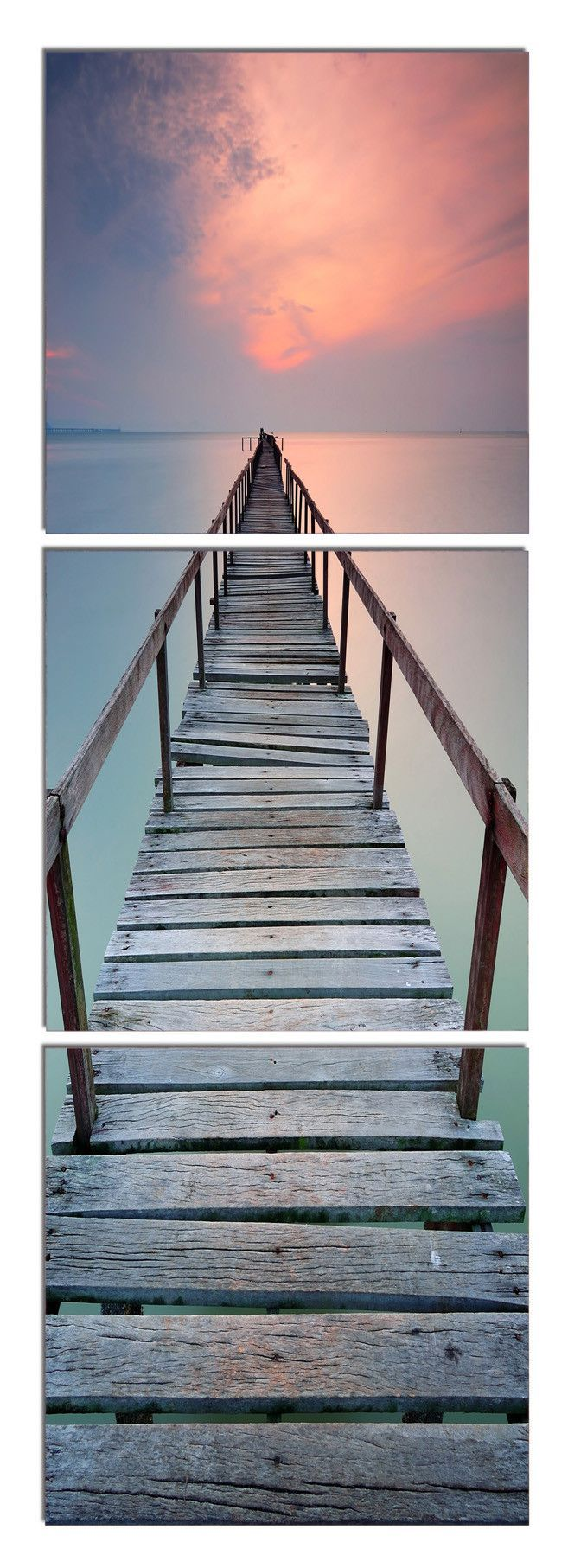 Every step is a risk when venturing down an old jetty. Grab the rail, but you never know. Is it worthwhile, to catch a better glimpse of the sunset? $220 Available in 3 sizes. Elementem Photography, triptych, home decor, photo prints on wood, jetty, rickety, boat, boating, yachting, sunset, beach, ocean, sea