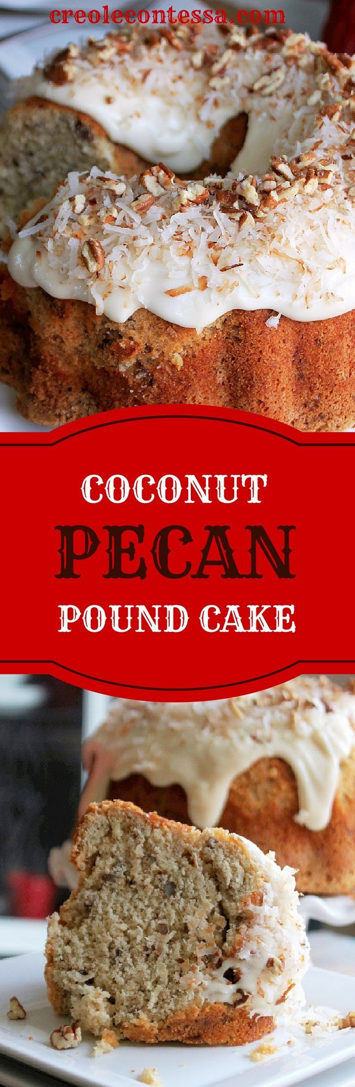 Coconut Pecan Pound Cake with Coconut Cream Cheese-Creole Contessa