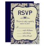 Ivory Lace Navy Blue Formal Wedding Response Reply Card