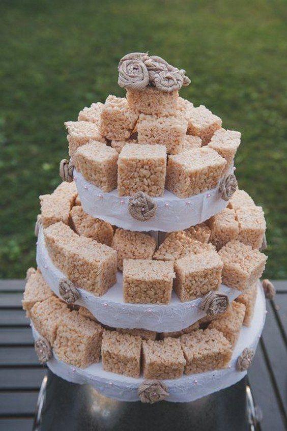 Rice Krispy Wedding Cake / http://www.deerpearlflowers.com/barbecue-bbq-wedding-ideas/