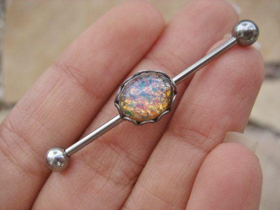 Opal Industrial Barbell Piercing Earring Jewelry by Azeetadesigns