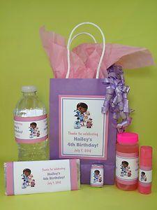 Doc McStuffins Birthday Cake Ideas | Doc McStuffins Birthday PDF CD w Favor Tag Water Candy Bar Bubble ...