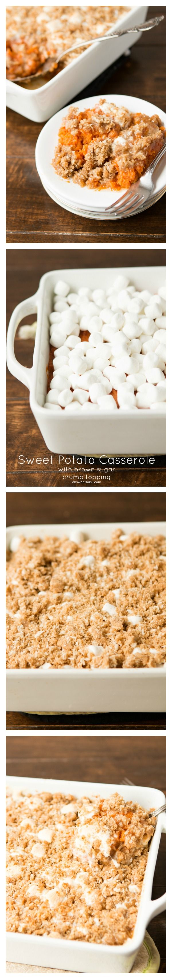 The BEST sweet potato casserole we've ever made and it has marshmallows and brown sugar crumble! ohsweetbasil.com