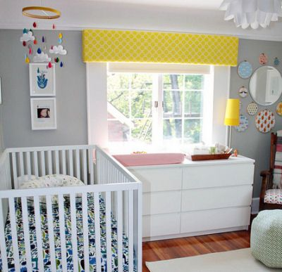 Love The Wall Color And Bright Pops Of Color Gray