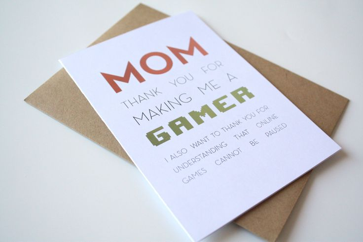 Mother's Day Card - Thank you for making me a gamer thank you for understanding that online games cannot be paused de la boutique MySweetPaperCard sur Etsy