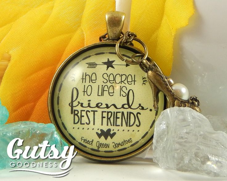 A great friend gift, quotation is from the movie Fried Green Tomatoes. 'The Secret to Life is Friends --Best Friend' Necklace, Friendship Jewelry, Thank You For Friend. Great gift for 'Will You Be My Bridesmaid' present $18.00 from GutsyGoodness #friendgift #friendjewelry #friendnecklace #bridesmaidgift