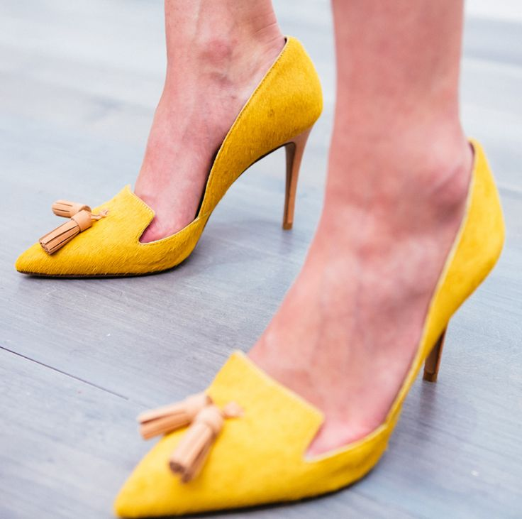 Finish off your look with bold yellow pumps. Coming Fall '15 from Banana Republic.