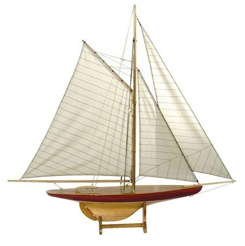 "1895 Defender Pond Yacht 37"""" Sail Model Sailboat Authentic Models"