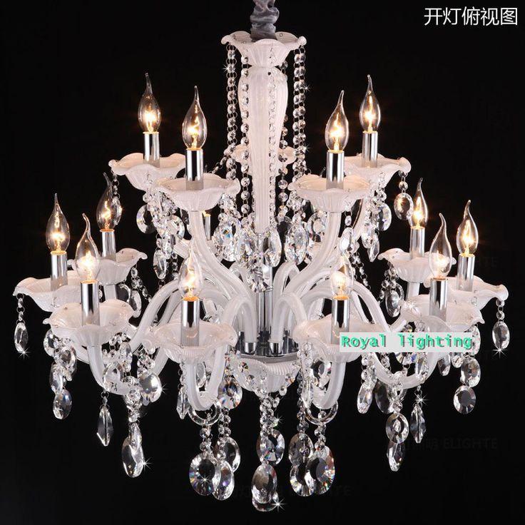 Белое стекло хрустальная люстра для кафе Отеля зал Большой хрустальный свет современная люстра лампада домашних огней и освещения