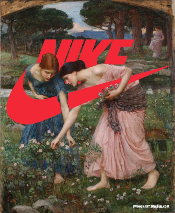 The latest installment in the trend of remixing classical paintings with contemporary elements, the Swoosh Art tumblr contains a collection of images of famous classical masterpieces with the Nike swoosh cleverly inserted. The juxtaposition of this iconic, universally recognized logo with these works of culturally and historically significant art clearly makes a comment about consumerism.