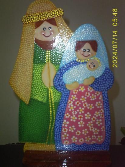 Pesebre pintado con acrilicos alegres