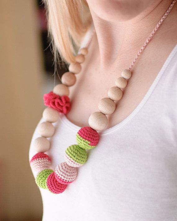 Nursing necklace / Teething necklace - Fuchsia, Neon green, Pale pink. $25.00, via Etsy.