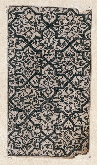 Design for Moresque ornament Thomas Geminus London 1548 Museum no. 19009 In 1548 Thomas Geminus published the first pattern-book to appear in England, entitled Morysse and Damashin renewed and encreased Very profitable for Goldsmythes and Embroiderars.